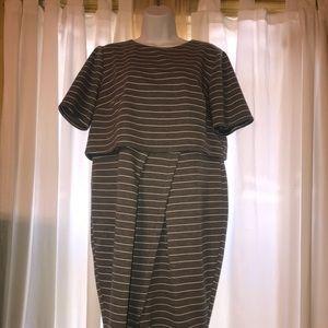 Grey striped ASOS Curve dress midi bodycon US 14